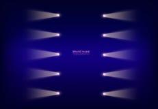 Διανυσματικό αφηρημένο πορφυρό έμβλημα με τα επίκεντρα νέου, φακοί στο καλώδιο, ελαφριές ακτίνες, ακτίνες του φωτός στοκ εικόνα με δικαίωμα ελεύθερης χρήσης