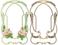 Διανυσματικό αφηρημένο πλαίσιο από τις συνδεδεμένα γραμμές και τα λουλούδια για τη διακόσμηση και το σχέδιο Στοκ Εικόνες