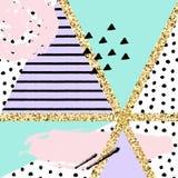 Διανυσματικό αφηρημένο συρμένο χέρι σχέδιο με τα γεωμετρικά και χρωματισμένα βούρτσα στοιχεία Στοκ εικόνα με δικαίωμα ελεύθερης χρήσης