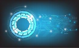 Διανυσματικό αφηρημένο σχέδιο τεχνολογίας στο μπλε υπόβαθρο Στοκ Εικόνα