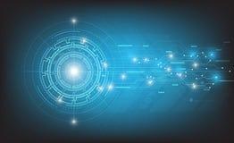 Διανυσματικό αφηρημένο σχέδιο τεχνολογίας στο μπλε υπόβαθρο Στοκ φωτογραφία με δικαίωμα ελεύθερης χρήσης