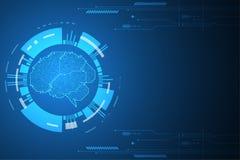 Διανυσματικό αφηρημένο σχέδιο εγκεφάλου τεχνολογίας ηλεκτρονικό Στοκ Φωτογραφίες
