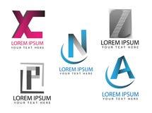 Διανυσματικό αφηρημένο σχέδιο λογότυπων επιστολών, σύνολο εικονιδίων επιστολών ύφους origami Στοκ Εικόνες