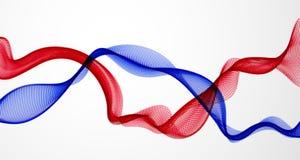 Διανυσματικό αφηρημένο υπόβαθρο με το αμοιβαίο κύμα των ρέοντας μορίων, ομαλές γραμμές μορφής καμπυλών διπλές, ροή σειράς μορίων  διανυσματική απεικόνιση