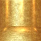 Διανυσματικό αφηρημένο χρυσό δωμάτιο με το χρυσούς πάτωμα και τους τοίχους Στοκ Εικόνα