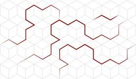 Διανυσματικό αφηρημένο isometric υπόβαθρο κύβων με τις κόκκινες γραμμές geom Απεικόνιση αποθεμάτων