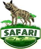Διανυσματικό αφρικανικό έμβλημα σαφάρι σαβανών με το ριγωτό hyena απεικόνιση αποθεμάτων