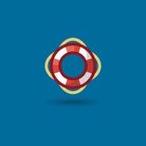 Διανυσματικό δαχτυλίδι ζωής εικονιδίων Απεικόνιση ένας χρωματισμένος ναυτικό ναυτικός σημαντήρας ζωής που απομονώνεται Στοκ Εικόνες