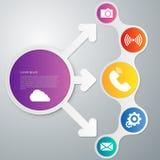 Διανυσματικό βέλος κύκλων infographics απεικόνισης απεικόνιση αποθεμάτων