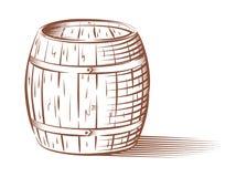 Διανυσματικό βαρέλι μπύρας ή κρασιού απεικόνιση αποθεμάτων