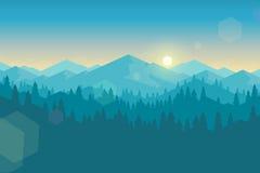 Διανυσματικό βουνό και πιό forrest τοπίο νωρίς το πρωί Στοκ Φωτογραφία