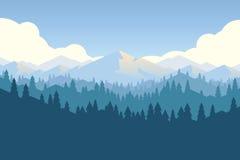 Διανυσματικό βουνό και πιό forrest τοπίο σε ένα φως της ημέρας Στοκ Φωτογραφία