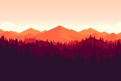 Διανυσματικό βουνό και πιό forrest τοπίο στο ηλιοβασίλεμα Στοκ Εικόνες