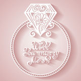 Διανυσματικό γαμήλιο δαχτυλίδι με το διαμάντι ελεύθερη απεικόνιση δικαιώματος