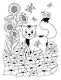 Διανυσματικό γατάκι απεικόνισης zentangl σε ένα ξέφωτο από τα λουλούδια Σχέδιο Doodle Στοχαστικές ασκήσεις Αντι πίεση βιβλίων χρω Στοκ Εικόνα