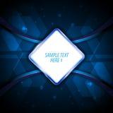 Διανυσματικό γεια τεχνολογίας καινοτομίας υπόβαθρο σχεδίου σημαδιών προτύπων πλαισίων μπλε Στοκ Εικόνα