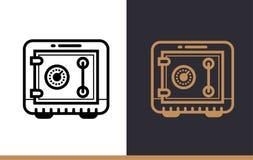 Διανυσματικό γραμμικό ΑΣΦΑΛΕΣ ΚΙΒΩΤΙΟ εικονιδίων της χρηματοδότησης, κατάθεση Υψηλός - ποιότητα μ Στοκ εικόνες με δικαίωμα ελεύθερης χρήσης