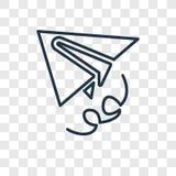 Διανυσματικό γραμμικό εικονίδιο έννοιας αεροπλάνων εγγράφου που απομονώνεται στο διαφανές β διανυσματική απεικόνιση