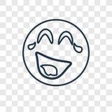 Διανυσματικό γραμμικό εικονίδιο έννοιας γέλιου που απομονώνεται στη διαφανή πλάτη διανυσματική απεικόνιση