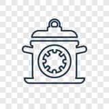 Διανυσματικό γραμμικό εικονίδιο έννοιας μαγειρεύοντας χρόνου που απομονώνεται σε διαφανή απεικόνιση αποθεμάτων