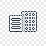 Διανυσματικό γραμμικό εικονίδιο έννοιας μπισκότων που απομονώνεται στο διαφανές backg διανυσματική απεικόνιση