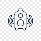 Διανυσματικό γραμμικό εικονίδιο έννοιας ομιλητών στο διαφανές backg απεικόνιση αποθεμάτων
