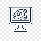 Διανυσματικό γραμμικό εικονίδιο έννοιας προγράμματος TV ποδοσφαίρου που απομονώνεται επάνω δια διανυσματική απεικόνιση
