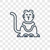 Διανυσματικό γραμμικό εικονίδιο έννοιας τιγρών τσίρκων που απομονώνεται σε διαφανή διανυσματική απεικόνιση