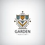Διανυσματικό γραμμικό λογότυπο Κήπος, λουλούδια στο σύγχρονο ύφος ελεύθερη απεικόνιση δικαιώματος