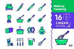 Διανυσματικό γραμμικό σύνολο εικονιδίων αρτοποιείου, μαγείρεμα Υψηλός - ποιότητα σύγχρονη Στοκ Εικόνες