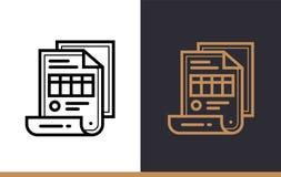 Διανυσματικό γραμμικό ΤΙΜΟΛΟΓΙΟ εικονιδίων της χρηματοδότησης, κατάθεση Υψηλός - ποιοτικό MO Στοκ Εικόνες