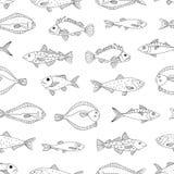 Διανυσματικό γραπτό άνευ ραφής σχέδιο των ψαριών θάλασσας διανυσματική απεικόνιση