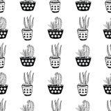 Διανυσματικό γραπτό άνευ ραφής σχέδιο με τους κάκτους και succulents στα δοχεία Στοκ Φωτογραφία