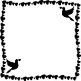 Διανυσματικό γραπτό πλαίσιο των καρδιών με τα περιστέρια στις γωνίες ελεύθερη απεικόνιση δικαιώματος