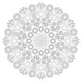 Διανυσματικό γραπτό mandala άνοιξη με τις πεταλούδες, λουλούδια, φύλλα, τουλίπες - ενήλικη χρωματίζοντας σελίδα βιβλίων απεικόνιση αποθεμάτων