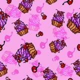 Διανυσματικό γλυκό σχέδιο cupcakes Στοκ Εικόνα