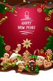 Διανυσματικό γλυκό υπόβαθρο Χριστουγέννων απεικόνισης Στοκ Εικόνες