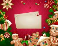 Διανυσματικό γλυκό υπόβαθρο Χριστουγέννων απεικόνισης Στοκ Εικόνα
