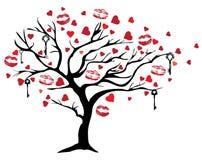 Διανυσματικό δέντρο βαλεντίνων με τα κλειδιά και τα φιλιά κραγιόν ελεύθερη απεικόνιση δικαιώματος
