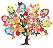 Διανυσματικό δέντρο Πάσχας με τα λουλούδια διανυσματική απεικόνιση