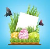 Διανυσματικό διάστημα αντιγράφων σχεδίου στοιχείων για τη ευχετήρια κάρτα Αυγά Πάσχας Στοκ Εικόνες