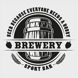 Διανυσματικό διακριτικό βαρελιών μπύρας στο άσπρο υπόβαθρο απεικόνιση αποθεμάτων