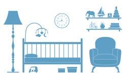 Διανυσματικό δωμάτιο παιδιών με τα έπιπλα που απομονώνονται στο άσπρο υπόβαθρο Σκιαγραφίες ελεύθερη απεικόνιση δικαιώματος