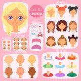Διανυσματικό είδωλο χαρακτήρα παιδιών κατασκευαστών προσώπου κοριτσιών και κοριτσίστικο σύνολο απεικόνισης χειλιών ή ματιών δημιο απεικόνιση αποθεμάτων