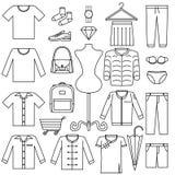 Διανυσματικό εικονίδιο γραμμών καθορισμένο - διαμορφώστε την κατηγορία προϊόντων συμβόλων πώλησης στο άσπρο υπόβαθρο διανυσματική απεικόνιση