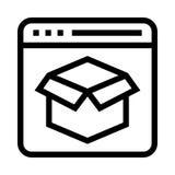 Διανυσματικό εικονίδιο γραμμών συσκευασίας ιστοσελίδας Στοκ Εικόνες