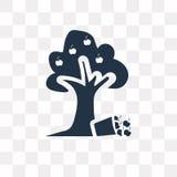 Διανυσματικό εικονίδιο δέντρων της Apple που απομονώνεται στο διαφανές υπόβαθρο, Apple απεικόνιση αποθεμάτων
