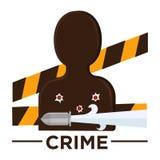 Διανυσματικό εικονίδιο κινηματογράφων εγκλήματος ύφους κινηματογράφων της σφαίρας vicitm απεικόνιση αποθεμάτων