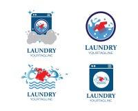 Διανυσματικό εικονίδιο λογότυπων πλυντηρίων απεικόνιση αποθεμάτων