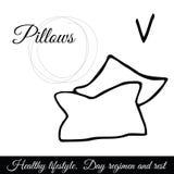 Διανυσματικό εικονίδιο μαξιλαριών περιλήψεων Σύμβολο του υπολοίπου και του ύπνου απεικόνιση αποθεμάτων